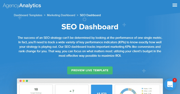 Agency Analytics SEO Dashboard - Screenshot